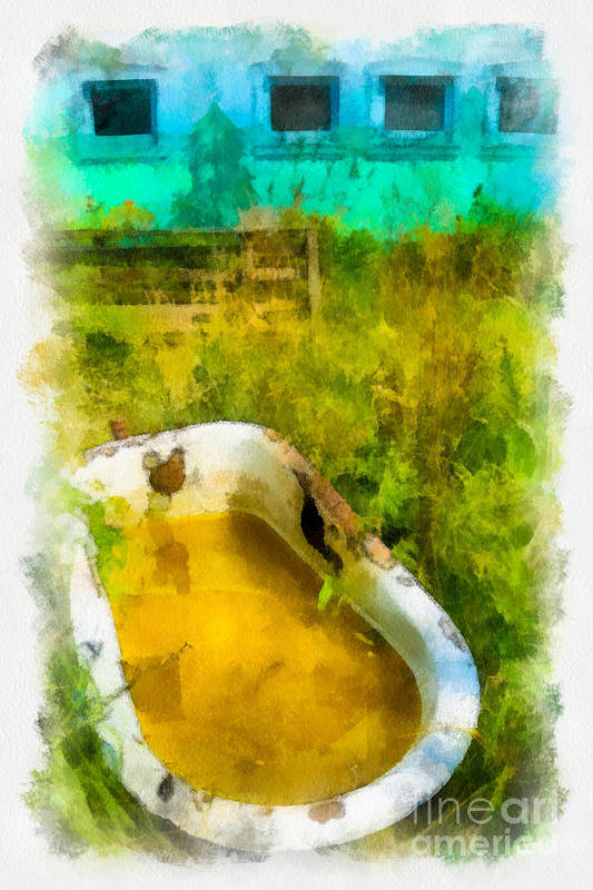 Abandoned Art Print featuring the digital art Old Bathtub Near Painted Barn by Amy Cicconi