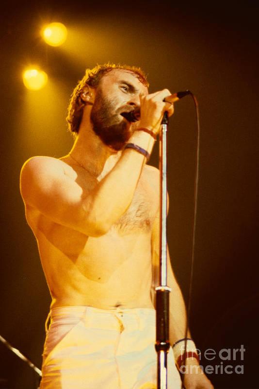 Concert Photos For Sale Art Print featuring the photograph Phil Collins Of Genesis At Oakland Coliseum by Daniel Larsen