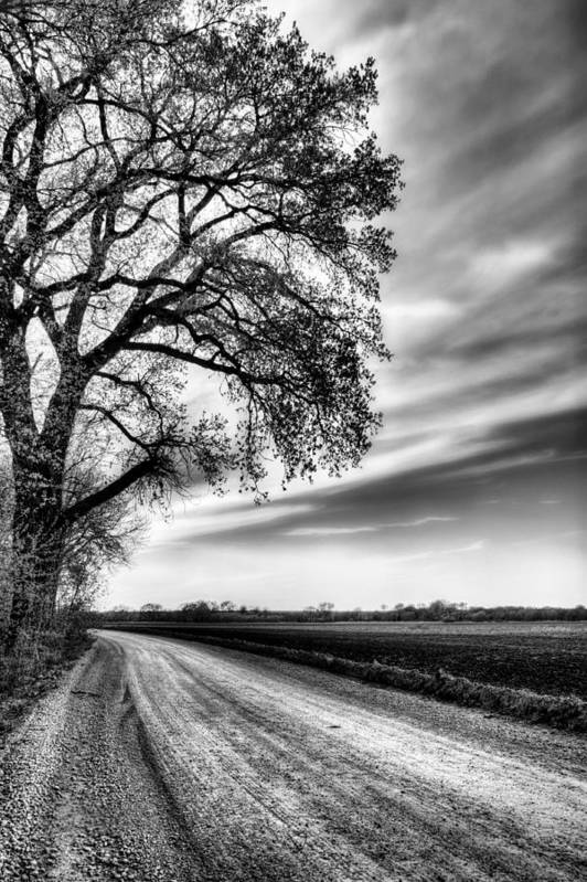 Kansas Print featuring the photograph The Dirt Road In Black And White by JC Findley