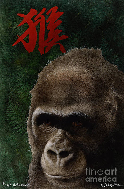 Will Bullas Art Print featuring the painting The Year Of The Monkey... by Will Bullas