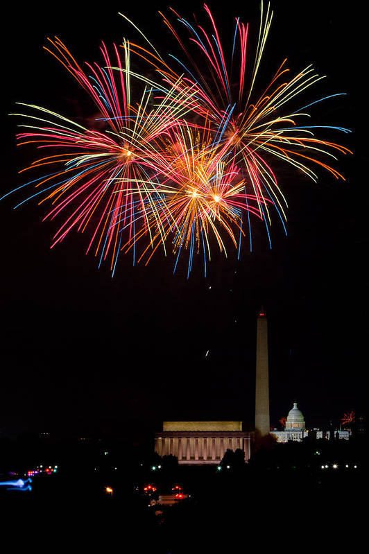4th Of July Art Print featuring the photograph Colors In The Night by David Hahn