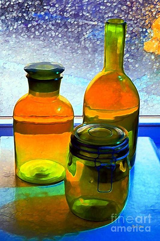 Bottles Art Print featuring the digital art Three Bottles In Window by Dale  Ford