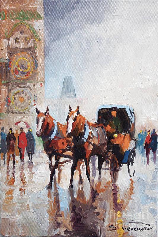 Prague Art Print featuring the painting Prague Old Town Square by Yuriy Shevchuk