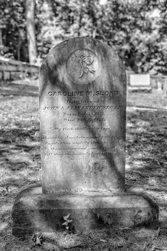 Cemetery Art Print featuring the photograph 201406030-018k Sloan Head Stone Bw 2x3 by Alan Tonnesen