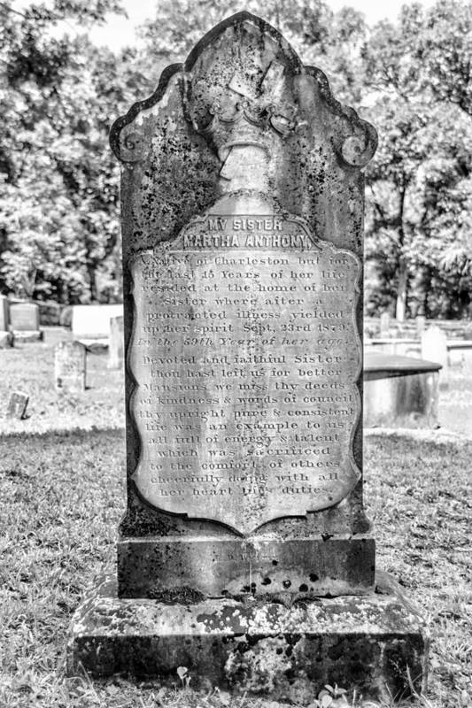 Cemetery Art Print featuring the photograph 201406030-020k Old Tall Head Stone Bw 2x3 by Alan Tonnesen