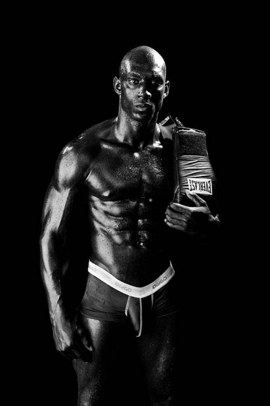 Boxer Art Print featuring the photograph Black Boxer In Black And White 01 by Val Black Russian Tourchin