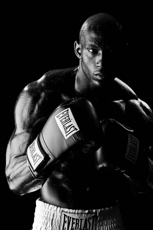 Boxer Art Print featuring the photograph Black Boxer In Black And White 03 by Val Black Russian Tourchin