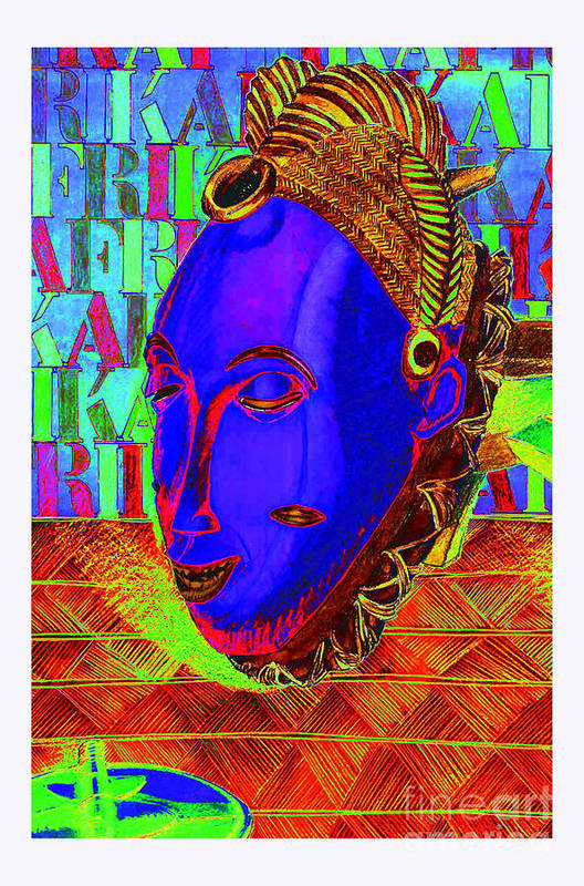 Tribal Art Print featuring the mixed media Blue Faced Mask by Ronald Rosenberg