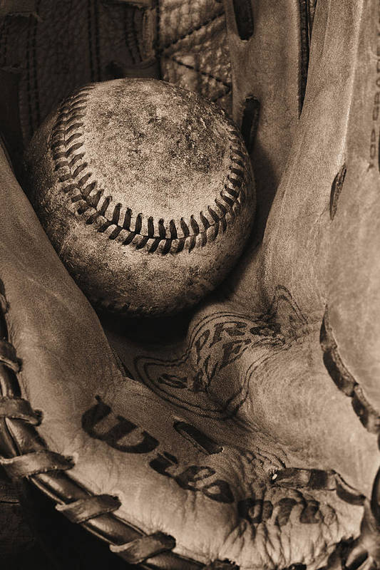 Baseball Art Print featuring the photograph Broken In Bw by JC Findley