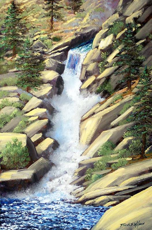 Landscape Art Print featuring the painting Canyon Falls by Frank Wilson