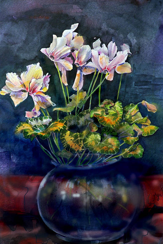 Cyclamen Art Print featuring the painting Cyclamen In A Vase by Gertrude Palmer