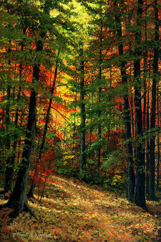 Landscape Art Print featuring the painting Deep In The Forest by Frank Wilson