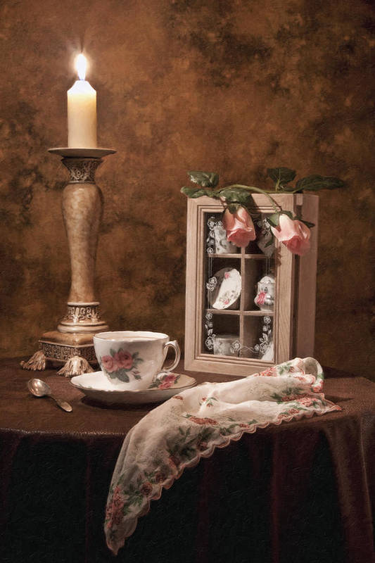 Teacup Art Print featuring the photograph Evening Tea Still Life by Tom Mc Nemar
