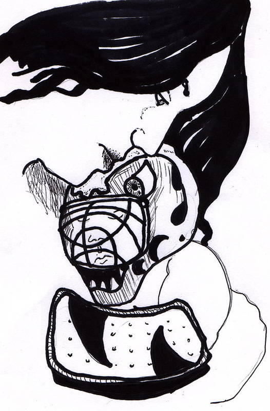 Ink Art Print featuring the drawing Goalie Mom by Todd Peterson