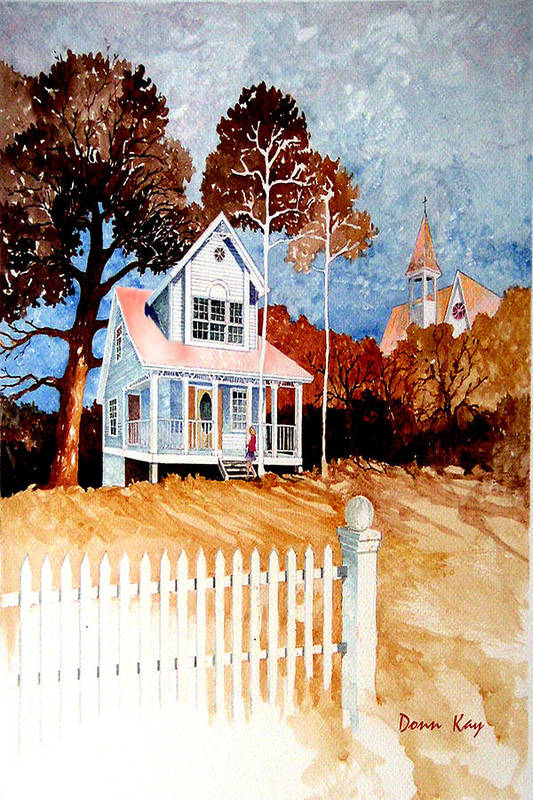Old House Church Texas New Mexico Trees Southwest Landscape Giclee Prints Art Print featuring the painting House Near Church Street by Donn Kay