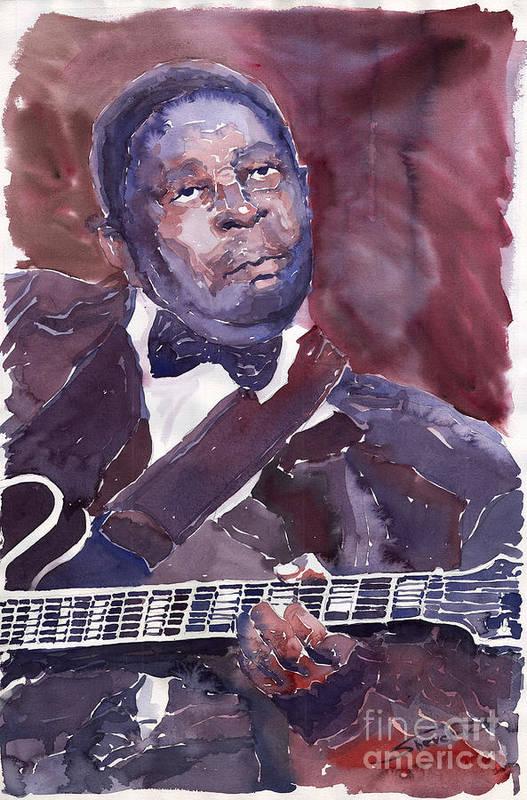 Jazz Bbking Guitarist Blues Portret Figurative Music Art Print featuring the painting Jazz B B King by Yuriy Shevchuk