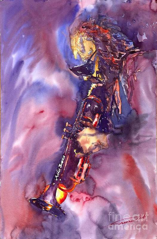 Davis Figurative Jazz Miles Music Musiciant Trumpeter Watercolor Watercolour Art Print featuring the painting Jazz Miles Davis Electric 3 by Yuriy Shevchuk
