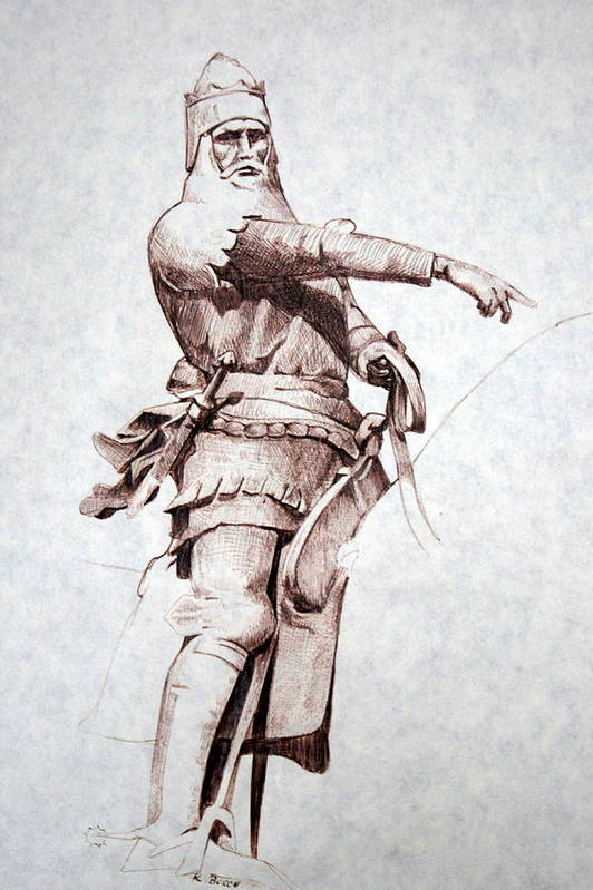 Pen And Ink Art Print featuring the drawing Knight by Kerry Burch