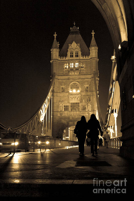 London Art Print featuring the photograph Midnight Stroll Over The Bridge by Joshua Francia