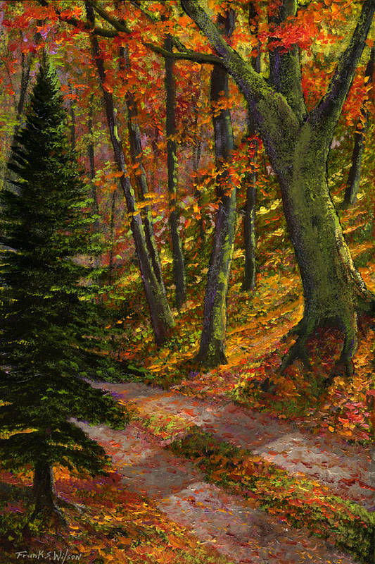 Road In The Woods Art Print featuring the painting September Road by Frank Wilson
