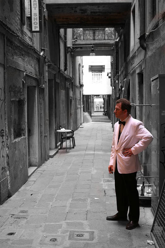 Venice Art Print featuring the photograph The Smoking Man In Venice by Greg Sharpe