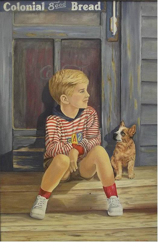 A Young Boy And His Dog Art Print featuring the painting Grandpas Country Store by Wanda Dansereau