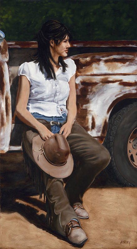 Cowgirl Art Print featuring the painting Shanti Waiting by Jack Atkins