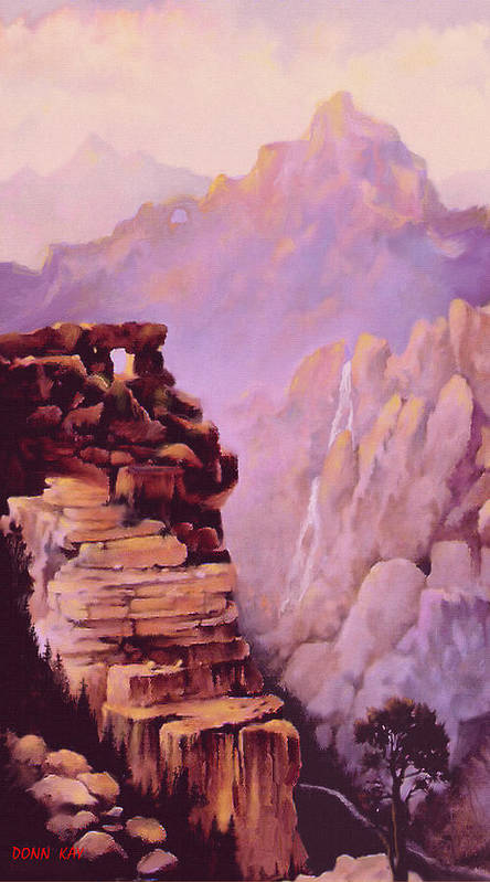 Mountains Colorado Waterfall Rocks New Mexico Giclee Prints Valley River Art Print featuring the painting A Study In Geology by Donn Kay