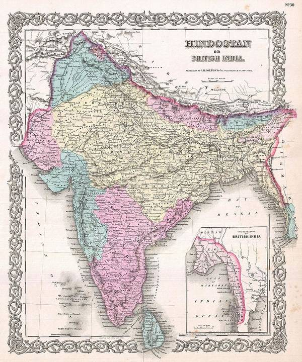 Art Print featuring the photograph 1855 Colton Map Of India by Paul Fearn
