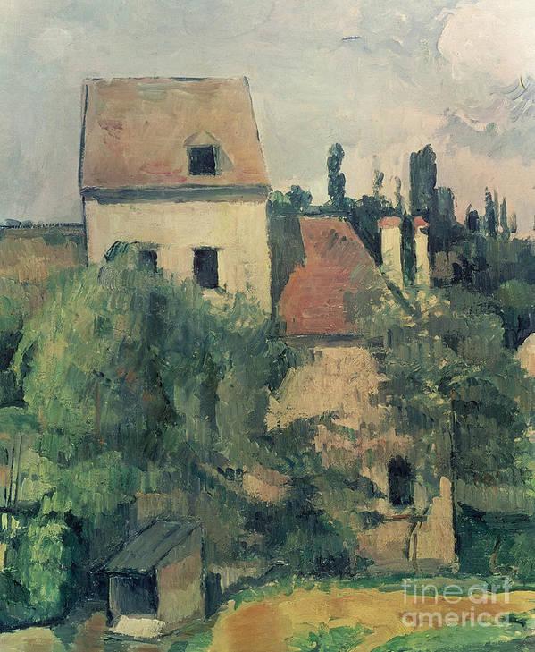 Landscape; Post-impressionist; France Art Print featuring the painting Moulin De La Couleuvre At Pontoise by Paul Cezanne