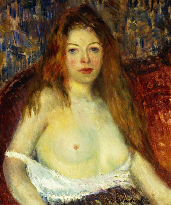 Ashcan School; Attire; Behaviour; Bosom; Breast; Caucasian; Direct Gaze; Dress; Female;hair; Half Dressed; Half Length; Half-dressed; Half-length; Looking At Camera; Long Hair; Model; Oil Painting; Partly Dressed; People; Person; Portrait; Portrait Style; Red-haired; Seated; Semi Nude; Serious; Sitting; Solemn; Temperament; The Eight; Time Of Day; Twentieth Century; Underclothes; Underwear; William James Glackens; William Glackens; Woman; Women; Woman Alone; Young Adult; Young Women;young Woman Art Print featuring the painting A Red-haired Model by William James Glackens