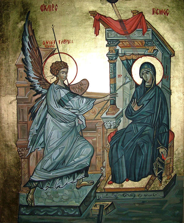 Icons Art Print featuring the painting Annunciation by Filip Mihail