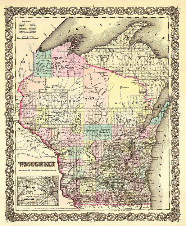Map Art Print featuring the drawing Antique Map Of Wisconsin 1855 by Mountain Dreams
