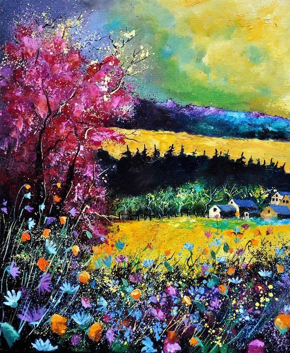 Landscape Art Print featuring the painting Autumn Flowers by Pol Ledent