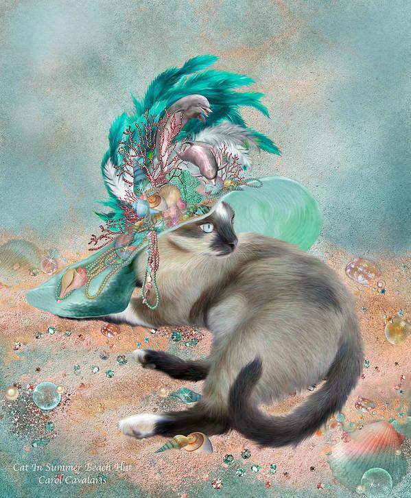 Cat Art Print featuring the mixed media Cat In Summer Beach Hat by Carol Cavalaris