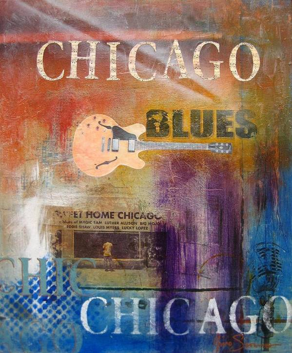 Colorful Abstract Prints Art Print featuring the painting Chicago Blues by Gino Savarino