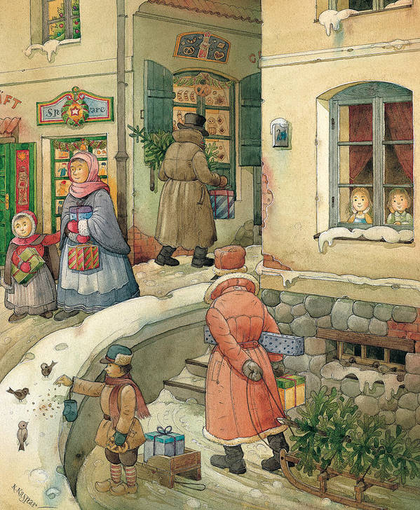 Christmas Greeting Cards Season Winter Snow Holiday Art Print featuring the painting Christmas In The Town by Kestutis Kasparavicius