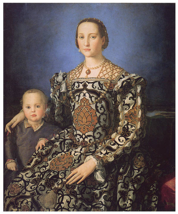 Agnolo Bronzino Print featuring the painting Eleonora Ad Toledo Grand Duchess Of Tuscany by Agnolo Bronzino