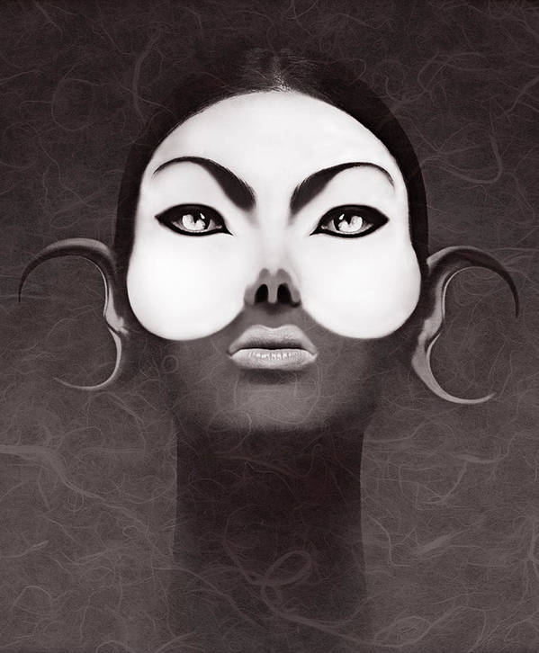 People Art Print featuring the digital art Face Moon by Yosi Cupano