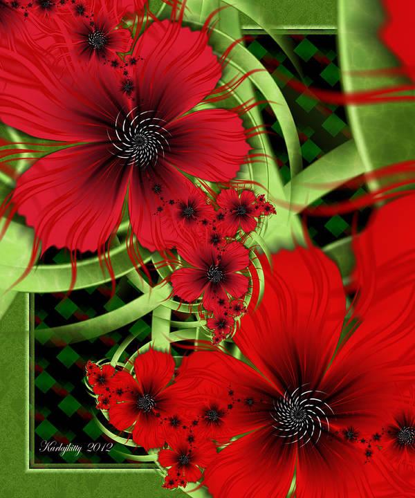 Ultra Fractal Art Print featuring the digital art Feelin' Red by Karla White
