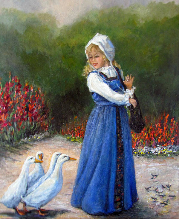 Nature Art Print featuring the painting Garden Visitors by Donna Tucker
