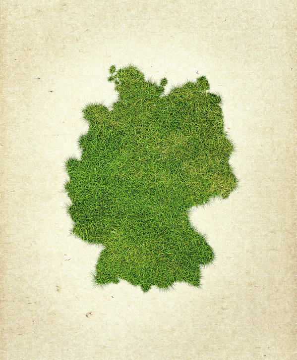 Map Of Germany Art Print featuring the photograph Germany Grass Map by Aged Pixel