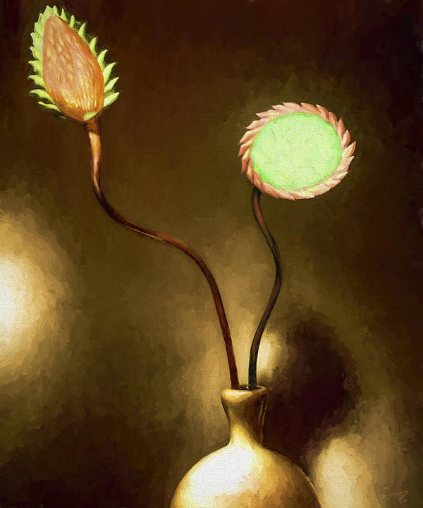 Fine Art Art Print featuring the painting Glass Flowers by David Wagner