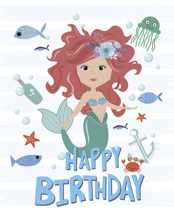 Art Print Featuring The Drawing Happy Birthday Card With Mermaid And Sea Life By BonneChance