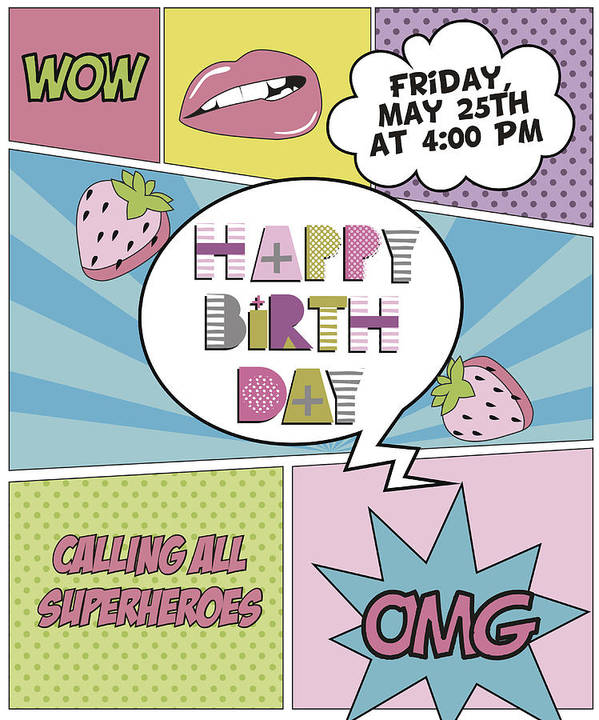 Happy Birthday Invitation Card In Pop Art Style Art Print