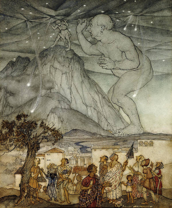 Arm Raised; Astronomical; Astronomy; Belief; British Artist; Childhood; Children; Countryside; Darkness; Early 20th Century; English Art; English Artist; European Artist; Giant; Hercules; Holding; Holding Up; Human Role; Illustrator; Ink Drawing; Looking Up; Male; Men; Mountain; Mountainous; Mountainscape; Myth; Mythical; Mythological; Mythology; Nature; Nocturnal; Outdoors; Rural; Size; Sky; Standing; Strength; Strong; Support; Supported; Supporting; Tree; Villager; Watercolor; Watercolour Art Print featuring the painting Hercules Supporting The Sky Instead Of Atlas by Arthur Rackham