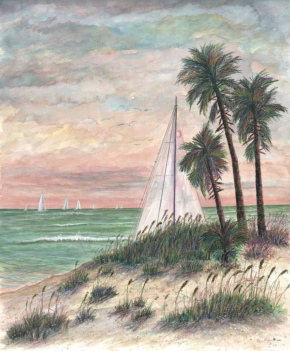 Sailboats; Palm Trees; Ocean; Beach; Sunset Art Print featuring the painting Hideaway by Ben Kiger