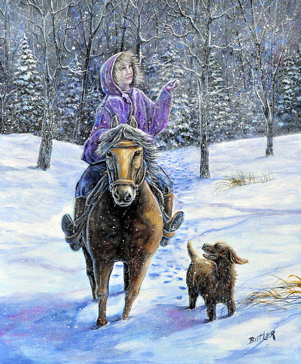 Nature Landscape Girl Ride Horse Dog Snow Country Friend Art Print featuring the painting If Snowflakes Were Wishes by Gail Butler