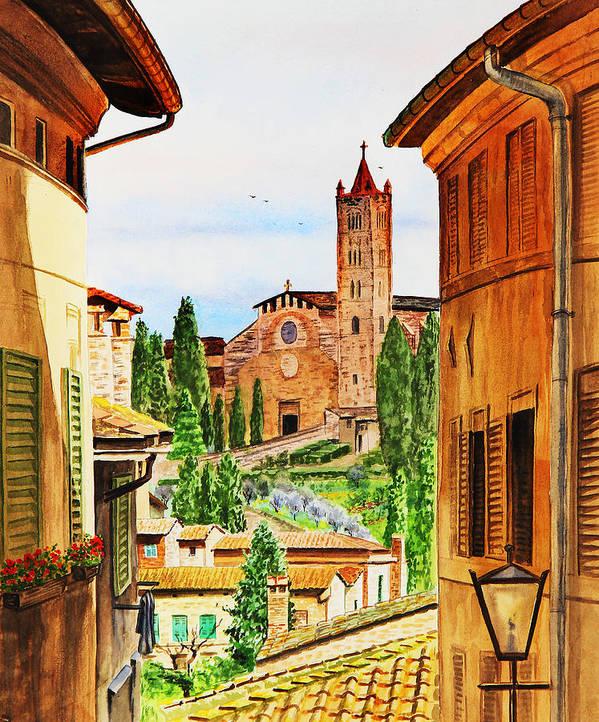 Siena Art Print featuring the painting Italy Siena by Irina Sztukowski