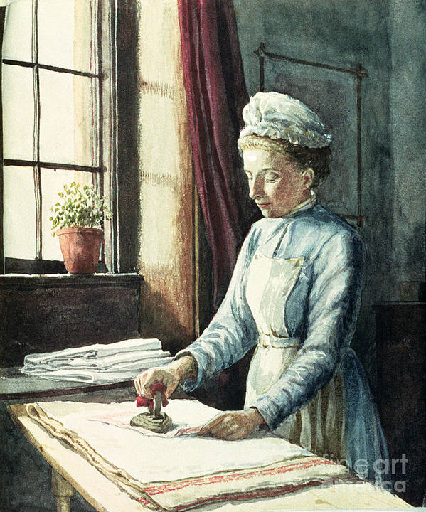 Servant Print featuring the painting Laundry Maid by English School